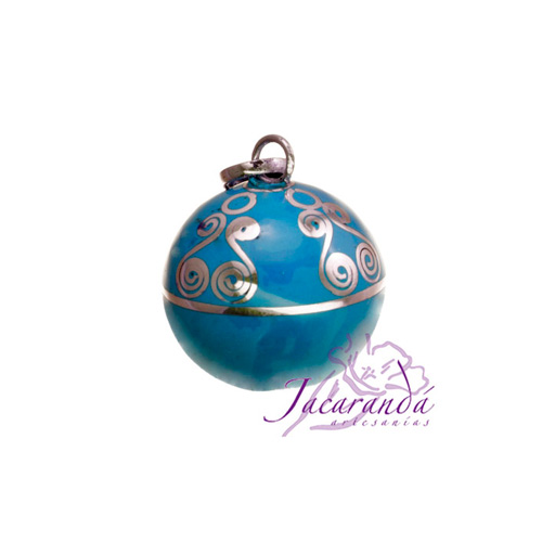 Llamador de ángeles Plata 925 con diseño Espirales color Turquesa 15 mm