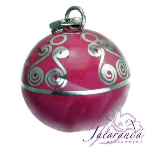 Llamador de ángeles Plata 925 con diseño Espirales color Rosa