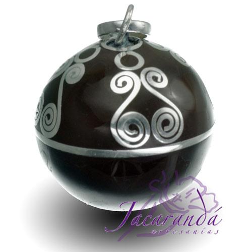 Llamador de ángeles Plata 925 con diseño Espirales color Negro 21 mm