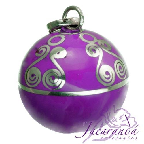 Llamador de ángeles Plata 925 con diseño Espirales color Purpura 21 mm