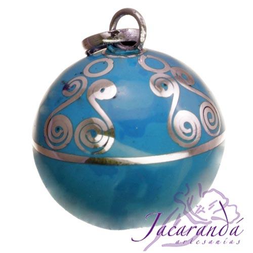 Llamador de ángeles Plata 925 con diseño Espirales color Turquesa 21 mm