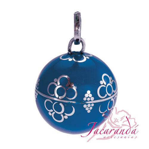 Llamador de ángeles Plata 925 con diseño Espirales color Azul 21 mm