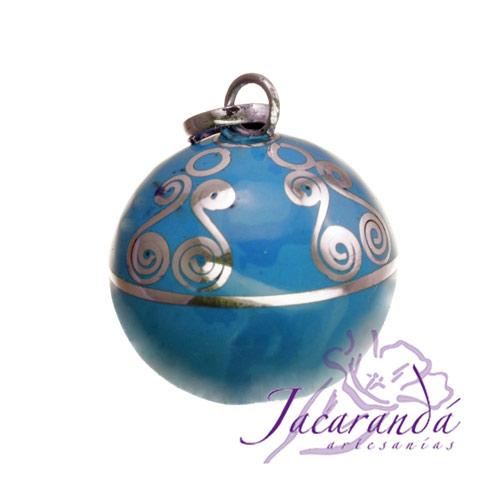 Llamador de ángeles Plata 925 con diseño Espirales color Turquesa