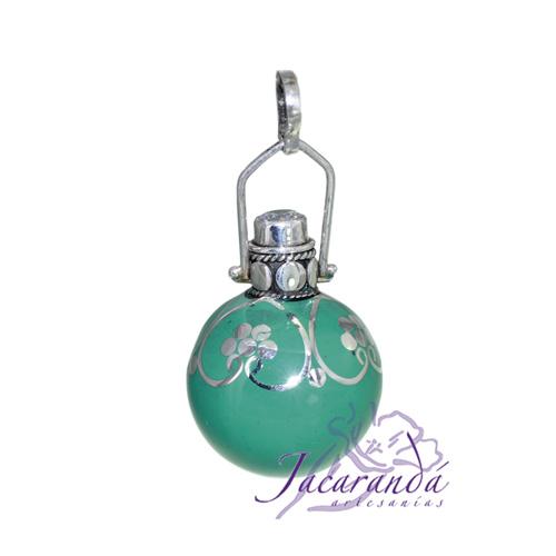 Llamador de ángeles Plata 925 con diseño Flores y Circón color Verde-Turquesa
