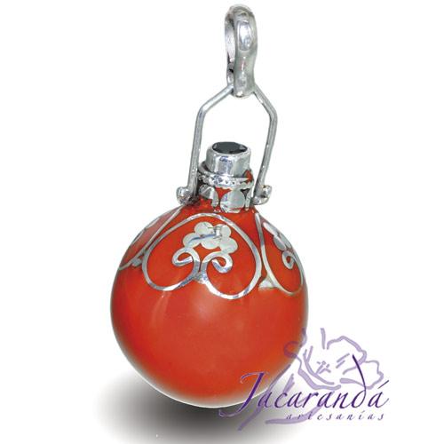 Llamador de ángeles Plata 925 con diseño Flores y Circón color Naranja 21 mm