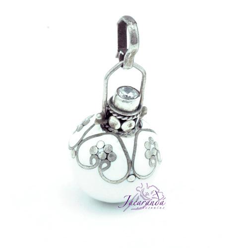 Llamador de ángeles Plata 925 con diseño cono color Blanco 15 mm