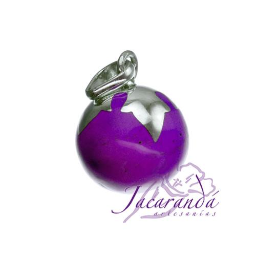 Llamador de ángeles Plata 925 con diseño Hojas color Purpura 15 mm