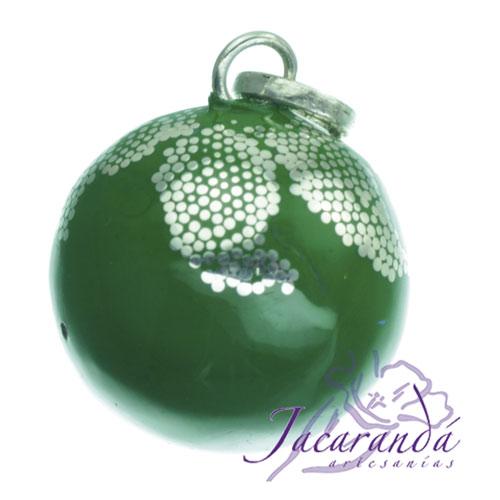 Llamador de ángeles Plata 925 con diseño Hojas color Verde 21 mm