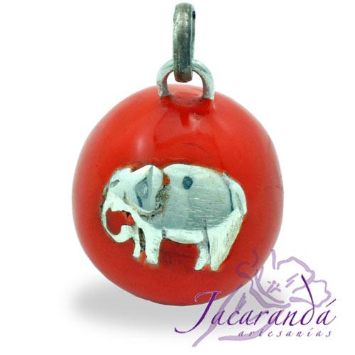Llamador de ángeles Plata 925 con diseño Elefante de la fortuna color Naranja 21 mm