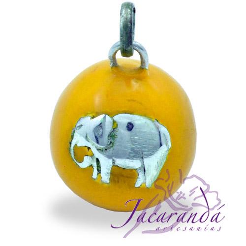 Llamador de ángeles Plata 925 con diseño Elefante de la fortuna color Amarillo 21 mm