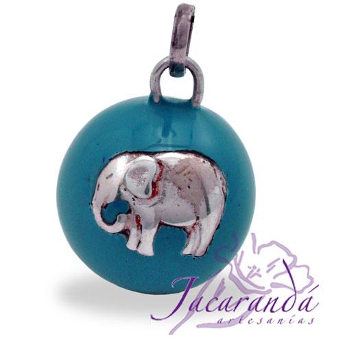 Llamador de ángeles Plata 925 con diseño Elefante de la Fortuna color Turquesa 21 mm