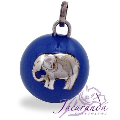 Llamador de ángeles Plata 925 con diseño Elefante de la Fortuna color Azul 21 mm