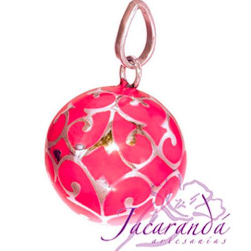 Llamador de ángeles Plata 925 con diseño Arabescos color Rosa 21 mm