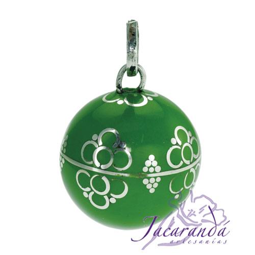 Llamador de ángeles Plata 925 con diseño Flores color Verde 21 mm