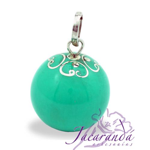 Llamador de ángeles Plata 925 con diseño Arabesco color verde-Turquesa 21 mm