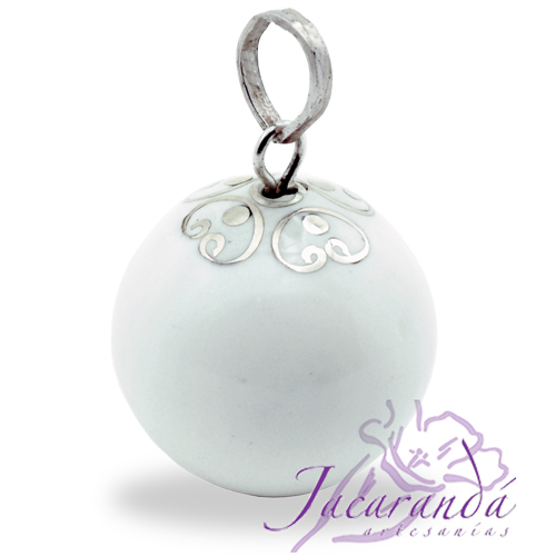 Llamador de ángeles Plata 925 con diseño Arabesco color Blanco 21 mm