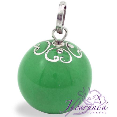 Llamador de ángeles Plata 925 con diseño Arabesco color verde 21 mm