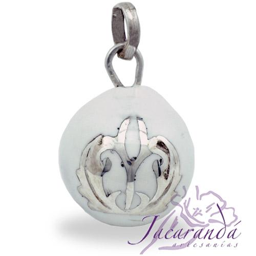 Llamador de ángeles Plata 925 con diseño color Blanco 21 mm