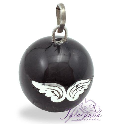 Llamador de ángeles Plata 925 con diseño Alas de Ángel color Negro 25 mm