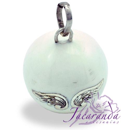 Llamador de ángeles Plata 925 con diseño Alas de Ángel color Blanco 25 mm