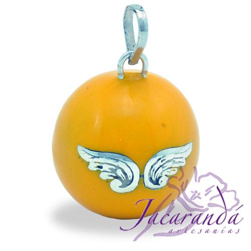Llamador de ángeles Plata 925 con diseño Alas de Ángel color Amarillo 21 mm