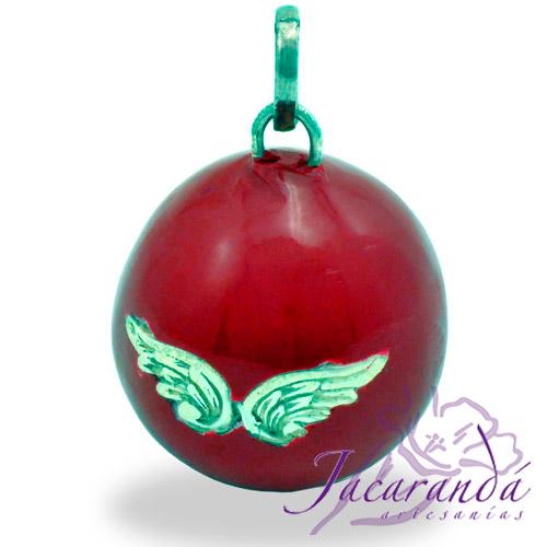 Llamador de ángeles Plata 925 con diseño Alas de Ángel color Rojo 25 mm