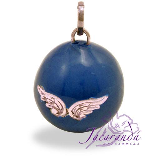 Llamador de ángeles Plata 925 con diseño Alas de Ángel color Azul 25 mm