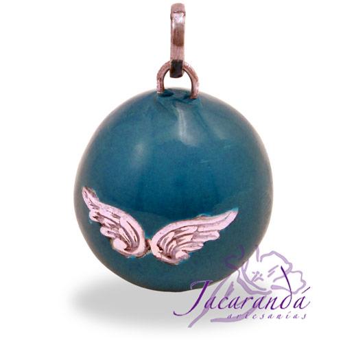 Llamador de ángeles Plata 925 con diseño Alas de Ángel color Turquesa 25 mm
