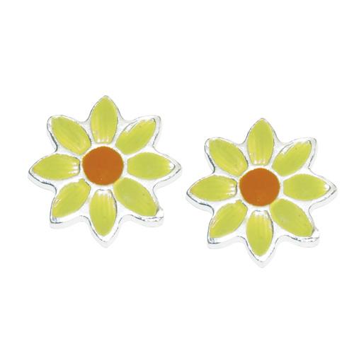 8920-Pendientes de plata 925 con esmalte de colores diseño Margarita 5 x 5 mm