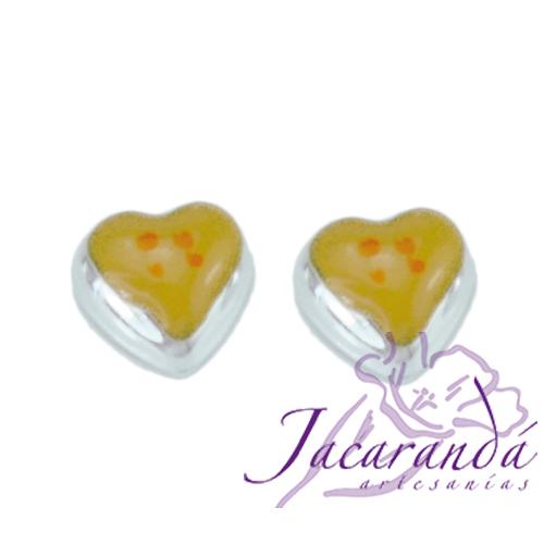 8925-Pendientes de plata 925 con esmalte de colores diseño Corazón 5 x 5 mm