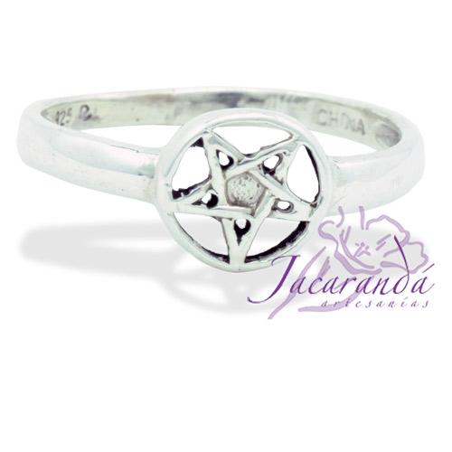 Anillo de plata liso Signo Estrella de 5 puntas 25 mm