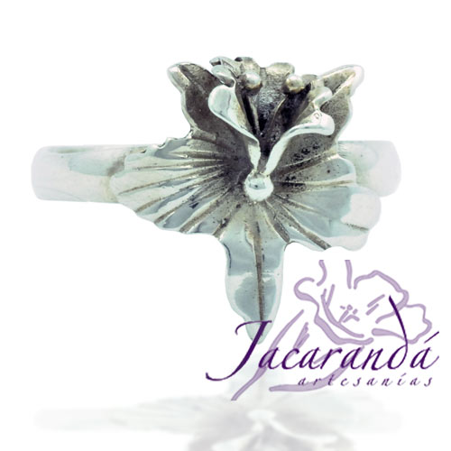 Anillo de Plata 925 diseño Flor Orquídea 13 mm