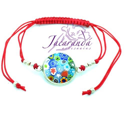 Pulsera macramé con cristal de Murano hilo rojo borde de plata 925