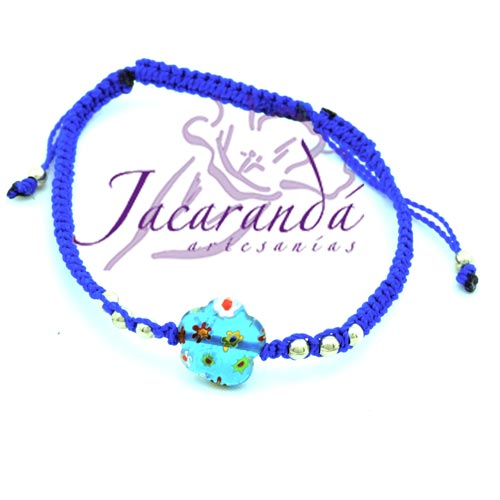 Pulsera macramé con cristal de Murano flor Azul bolitas de plata 925