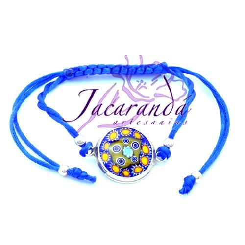 Pulsera macramé con cristal de Murano hilo azul borde de plata 925