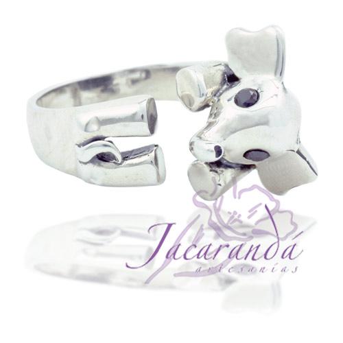 Anillo de plata 925 liso Elefantito 16 mm