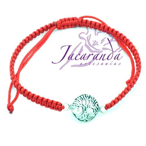Pulsera macramé Rojo con centro de plata 925 árbol de la vida