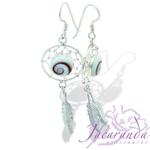 Pendiente de Plata 925 diseño Atrapa-Sueños con perla de Ojo de Shiva