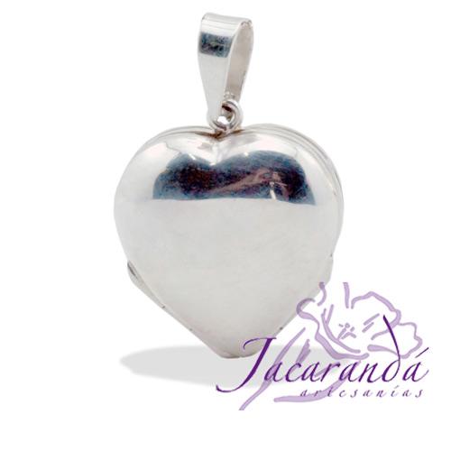 Colgante de plata 925 relicario Corazón liso con base para 4 fotos 23 x 28 mm