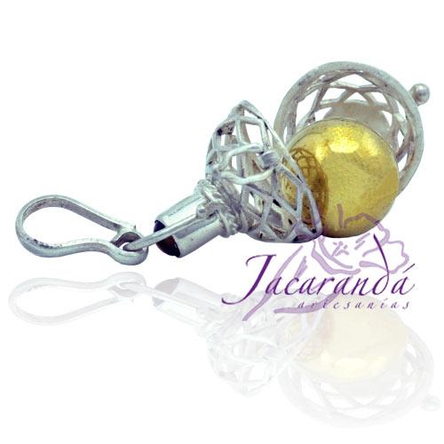 Llamador de ángeles de plata 925 calado con Ojo de Tigre en 16 mm