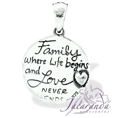 Colgante de Plata 925 Árbol de la vida Family con corazones 18 mm