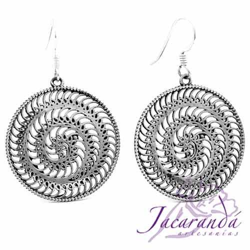Pendiente de Plata 925 diseño circulo espiral 28 mm