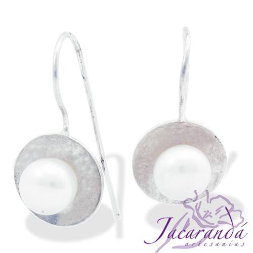 Pendiente de Plata 925 diseño Circulo con madre perla