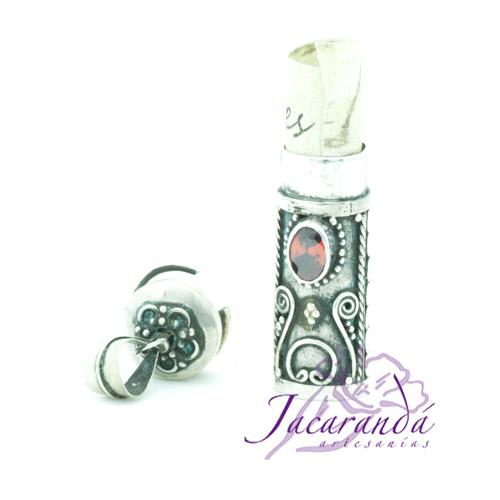 Colgante de plata 925 Cofre de los Sueños y Deseos color Rubí 30 mm