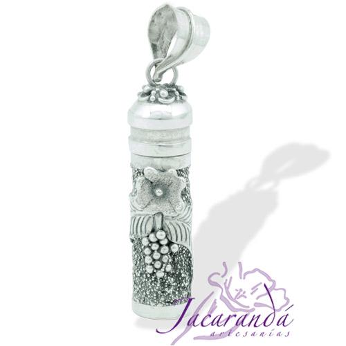Colgante de plata 925 Cofre de los Sueños y Deseos diseño flor 38 mm