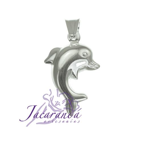 Colgante de Plata 925 liso diseño Delfín 18 x 22 mm