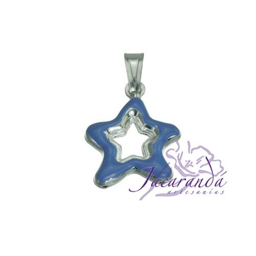 Colgante de Plata 925 con esmalte de color diseño Estrella calada