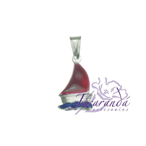 Colgante de Plata 925 con esmalte de color diseño barco