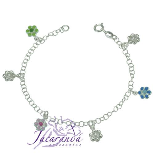 Pulsera cadena de Plata 925 diseño tres flores de color y tres plateadas