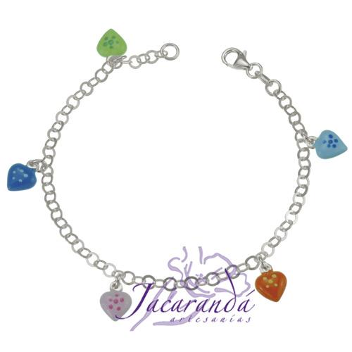 Pulsera cadena de Plata 925 diseño corazones de colores